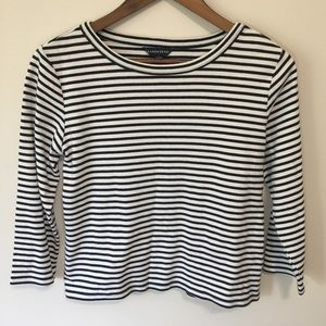 Lands' End Long Sleeve Casual Striped Blouse